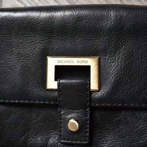 MK Genuine Black Leather Clutch with Gold Hardware